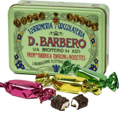 Weißer Nougat mit Piemont-Haselnüssen, überzogen mit dunkler Schokolade in Metallbox 100g