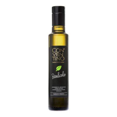 natives Olivenöl mit Basilikumaroma in 0,25l Glas-Flasche