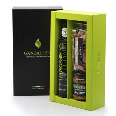 Geschenkbox mit nativem Olivenöl extra, Mandelpesto und Mandeln