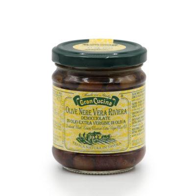 in Olivenöl eingelegte, entsteinte, schwarze Olivenöl in 180g Gläschen