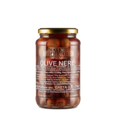 in Salzlake eingelegte schwarze Oliven in Glas, 580g