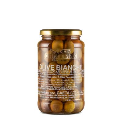 in Salzlake eingelegte natürlich weiße Oliven in Glas, 580g