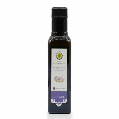 Natives Olivenöl mit Knoblauch-Aroma in 250ml Glasflasche